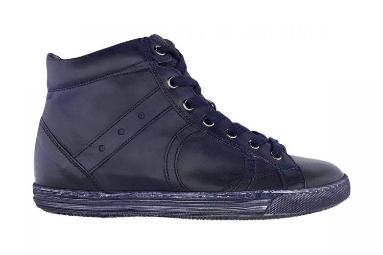 sneakers alta uomo donna tinta a mano blue