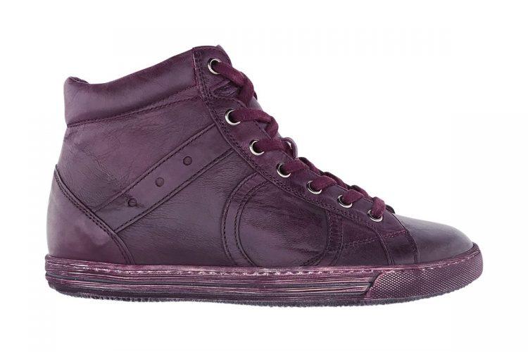 sneakers alta uomo donna tinta a mano bordeaux