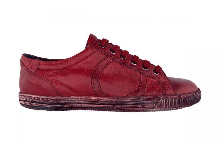 sneakers bassa uomo donna tinta a mano rosso